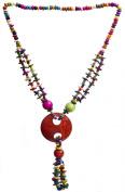 Multi-Colour Ethnic Necklace - Wood - Colour Red