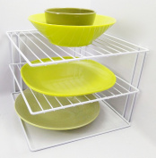 3 Tier Plate Organiser For Kitchen Cupboard Or Worktop - White