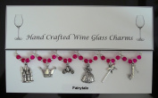 Fairytale Themed Wine Glass Charms Set of 6 Handmade Hot Pink