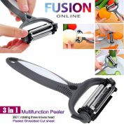 3 IN 1 ROTARY FRUIT VEGETABLE CARROT POTATO PEELER CUTTER SLICER SPEED PEELER UK Fusion