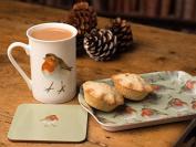 Into The Wild Christmas Robin Time For Tea Mug, Coaster & Tray Gift Set