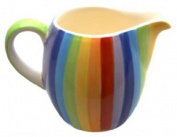 RAINBOW STRIPE Small Ceramic Milk / Cream Jug / Pitcher - 9cm
