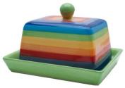 RAINBOW STRIPE Ceramic Butter Dish with Lid - 16cm