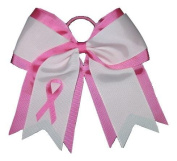 """NEW """"BREAST CANCER Ribbon"""" Cheer Hair Bow Pony Tail 7.6cm Girls Cheerleading Practise Games School Uniform Hairbow Awareness Event"""