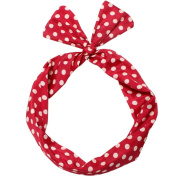 Sea Team Wire Headband . Retro Bowknot Polka Dot Wire Hair Holders for Women and Girls Red
