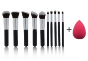 *NEW* 10 Piece Professional Kabuki Contouring Makeup Brush Set with Premium Synthetic Hair for Face, Cheeks and Eyes, plus includes a BONUS Complexion Beauty Blender!