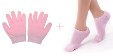 Cracked Dry Skin Care Cream Oil Moisture Moisturising Gel Spa Socks and Gloves for Smooth Soft Hands (Gloves+Socks)