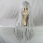 80CM Long Silver White Straight Party Cosplay Full Hair Wig+ Free Wig Cap