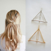 Minimalist Dainty Gold Silver Hollow Triangle Geometric Metal Hairpin Hair Clip Clamps Accessories Barrettes Bobby Pin Ponytail Holder Statement Women's GIFT Headwear Headdress Styling Jewellery