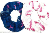 Pink Ribbon Blue Butterflies Hair Scrunchies Set of 2 Breast Cancer Awareness Ponytail Holders made by Scrunchies by Sherry