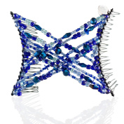HairZing Double Cross Hair Comb, Hair Accessory Perfect for Easy Ponytails, UpDos and Twists, Dark Blue, Snug