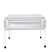Innit Designs Atom Ottoman, White Weave on White Frame