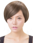 Rabbitgoo Halloween Beautiful Short Natural Brown Lace Front Bob Wigs for Women with Wig Cap