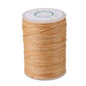 Beige 100 Metre 0.6mm Dia Leather Craft Hand Work Sewing DIY Round Waxed Wax String Linen Stitching Thread Cord