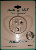 """Blue La Rue """"Americana"""" Fine Silver Plated 3 Charm Set with American Flag, Uncle Sam's Hat, Five Point Blue Stone Star"""