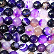 Faceted Dyed Natural Genuine Banded Agate Round Gemstone Loose Beads for Necklace Jewellery Making Findings