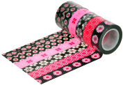 HIART Repositionable Washi Tape, Black/Pink Perfection Collection, Set of 6