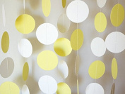 KINGWEDDING 100cm Long Paper Round Dots Hanging Decoration String Paper Garland Wedding Birthday Party Baby Shower Background Decorative - White & Yellow