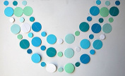 KINGWEDDING Round Dots Hanging Decoration String Paper Garland Wedding Birthday Party Baby Shower Background Decorative - Blue,Navy Blue,White & Green