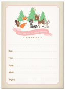 24 Cnt Woodland Animals Fill-in Baby Shower Invitations