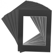 Mat Board Centre Premier High Quality Acid-Free Pre-Cut 8x10 Black Picture Mat Sets. Includes a Pack of 25 White Core Bevel Cut Mattes for 5x7 Photos, Pack of 25 Backers & Pack of 25 Clear Bags