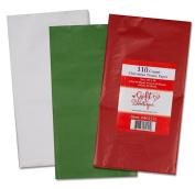 Gift Boutique Christmas Assortment 110 Sheets 50cm x 50cm Tissue Paper - Red, Green & White Description: