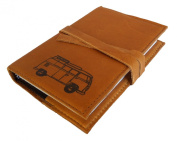 Handmade Leather Journal 4 X 6 Volkswagon Bus Design - Refillable Unlined Notebook