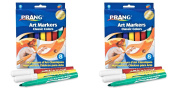 Prang Art Markers, Bullet Tip, Set of 8 Markers, Assorted Classic Colours (80128), 2 Packs