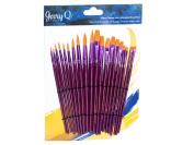 Jerry Q Art 20 pcs Golden Taklon Universal Brush Set for Watercolour, Acrylic, Oil, Tempera. Short Wooden Handles JQ202