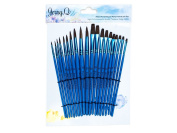 Jerry Q Art 20 pcs Pure Natural Pony Hair Brush Set for Watercolour, Acrylic and Tempera. Short Wooden Handles JQ201