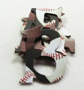 Sports Series - Baseball #2 HandCut 3.8cm Chipboard Uppercase Letters Alphabet Stickers set - 65 pieces