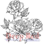 Deep Red Rubber Cling Stamp Carnation Blossoms Blooms