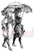 Deep Red Rubber Cling Stamp Parasol Stroll Victorian Girls Playing