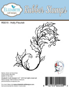 Elizabeth Craft Designs Holly Flourish Cling Red Rubber Stamp RS015