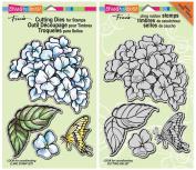Stampendous Hydrangea Garden Cling Stamp & Die Set - 2 Item Bundle