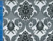 110cm Wide Fabric, Damask Onyx, Fabric By the Yard