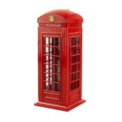 Attractive Metal Alloy Money Coin Spare Change London Street Red Telephone Booth Bank Box-