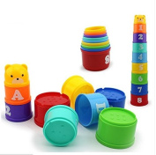 1 Educational Toy Folding Cup : 1 Set Baby Children Kids Educational Toy Figures Letters Folding Cup Pagoda GOCG : children kids baby