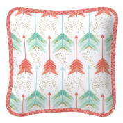 Carousel Designs Coral and Teal Arrow Decorative Pillow Square