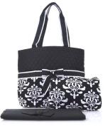 NGIL Black Damask Print Quilted Nappy Bag