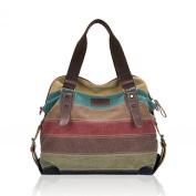 Voberry® Women Canvas Striped Crossbody Bags Vintage Contrast Colour Canvas Tote Handbags