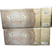 Kleenex Ultra Soft 3 ply Pocket Facial Tissues-Beautifully Strong, Soft and Silky-Elegant Beige packages-Total 20 Individual Packages