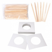 JMT Beauty 30 Disposable Square Collars and 100 Eye Brows Applicator Sticks Kit