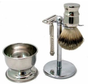 Shaving Set - 4 Pc. Polished Chrome w/ Butterfly Top Safety Razor