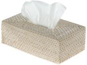 Laguna Rectangular Rattan Tissue Box Cover, White Wash