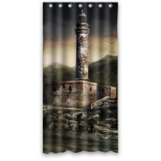 90cm (W) x 180cm (H) Lighthouse Rust Popular Bathroom Shower Curtain 100% Polyester