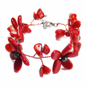 Red Coral Black Pearl Flower Garland Bracelet