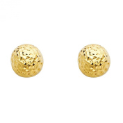Wellingsale® Ladies 14k Yellow Gold Polished Multi-Diamond Cut Faceted Earring