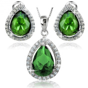 ELYA Sterling Silver Pear-Shape Cubic Zirconia Halo Earrings and Necklace 46cm Set