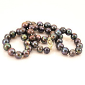 """7mm Tahitian Black Pearl Necklace W/14k Gold-filled Clasp 17"""" N13010126c"""